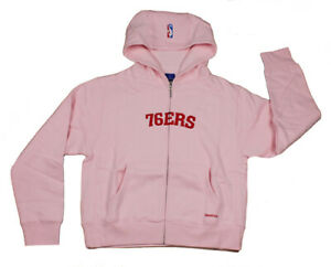 Adidas NBA Juniors Women's Philadelphia 76ers Hoodie Sweatshirt - Pink