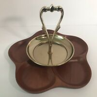 Vintage MCM Kromex Rosewood Wooden Divided Serving Tray Dish Platter Party gift