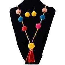 Fashion Faux Fur Ball Pompom Long Sweater Chain Necklace Pendant Earrings Set UK