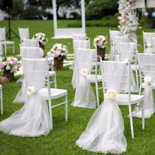 Wedding Chair Decor 40''x40'' White Chiffon Fabric with a Rose Included