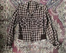New listing Vintage 1950s Rockabilly Windowpane Button Front Jacket Two Pocket Knit Waist