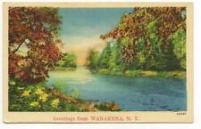 WANAKENA NY Vtg Greetings From Linen Postcard Lake View
