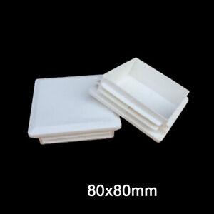 80x80mm Plastic Blanking End Cap Caps Tube Pipe Inserts Plug Bung Black/White