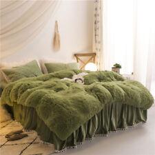 Luxury fruit green plush fluffy mink velvet duvet cover Qui stitched bedding set