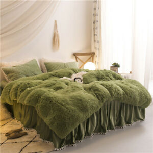 Luxury fruit green plush fluffy mink velvet duvet cover Qui stitched bedding set