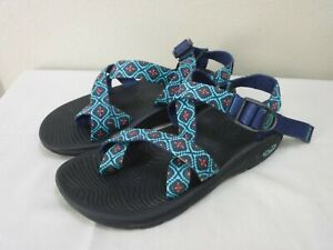 CHACO Z2 7 38 Blue Teal Diamond Toe Loop Hiking Trail Water Sport Sandals Shoes