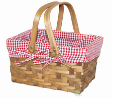 Rectangular Basket Lined with Gingham Lining Small Outdoor Picnic Baskets Tables