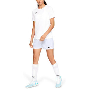 Under Armour Women's Maquina 2.0 Soccer Shorts , White (100)/Black , Large