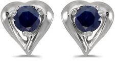 14k White Gold Round Sapphire Heart Earrings