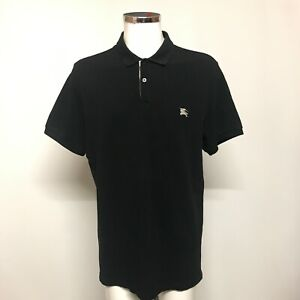 Burberry Brit Polo Shirt Mens Size XXL Black Cotton Short Sleeve Collared 491715