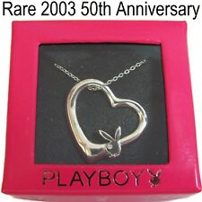 NEW 925 Sterling Silver Playboy Necklace Floating Heart Pendant Bunny Charm RARE
