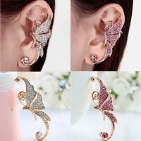 Vintage Womens Butterfly Ear Cuff Clip Punk Rhinestone Crystal Cartilage Earring