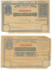 INDIA POSTAL ORDER two different with SPECIMEN overprint