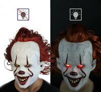 The Clown Halloween Latex Glowing Cosplay Mask Scary LED Light with Wig