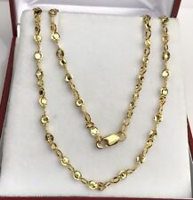 "18k Solid Yellow Gold Italy Shiny Link Chain/Necklace Dimond Cut. 18"". 4.20Grams"