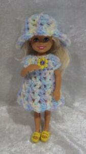 """Made to fit 5½"""" CHELSEA #07 Handmade Clothes, Crochet Dress & Hat Set"""