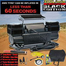 AIR COMPRESSOR 12V 4x4 4wd EXTRA HEAVY DUTY PORTABLE Black Ed 300L P/M Tyre Pump
