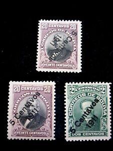 BOLIVIA - SCOTT#95-96,96a - MNH - CAT VAL $90.75