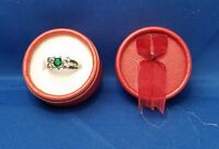 RING Size 6 - Green Color Stone & Silver Band with Gift Box