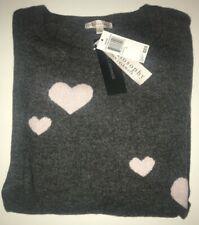 PHILOSOPHY Cashmere HEART Sweater CHALKBOARD HEATHER + SHOWER PINK ($228) NWT