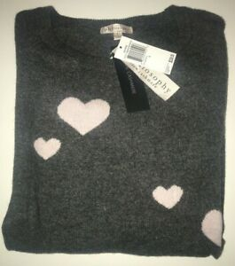 PHILOSOPHY Cashmere HEART Sweater CHALKBOARD HEATHER + SHOWER PINK ($228) NWT
