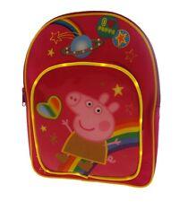 Peppa cerdo infantil arcoiris mochila Rosa con bolsillo delantero luz Led