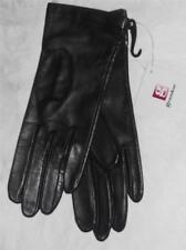 Grandoe Silk Lined Genuine Leather Gloves, Medium Black