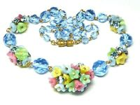 Fabulous Art Deco 1930s Czech blue crystal & pastel satin glass flower necklace