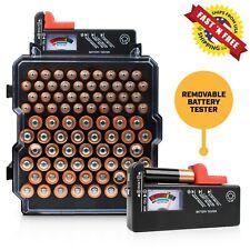 Battery Organizer 83 Slots AA/AAA + BATTERY TESTER for AAA, AA, C, D, 9V, 1.5v