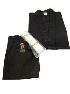 ProForce  Medium Weight Uniform 7.5 Oz BLACK with White Belt Karate TKD Size 0
