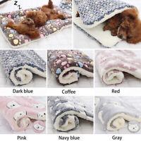 Pet Mat Paw Print Cat Dog Puppy Fleece Mattres Cushion Bed Blanket Warm Soft