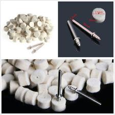 100Pcs 13mm Wool Felt Polishing Buffing Pad+2Pcs Clamp Shank For Grinding Wheel