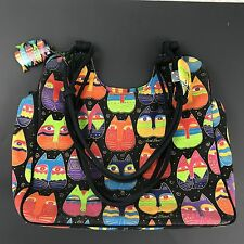 Laurel Burch Cat Purse Bag Tote Large Fabric Canvas Cotton Zip Top Cats