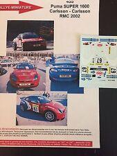 DECALS 1/43 FORD PUMA SUPER1600 CARLSSON RALLYE MONTE CARLO 2002 RALLY WRC
