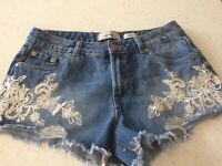 "Denim ""Daisy Dukes"" Distressed Shorts  Hot Pants with motif size 10"