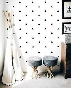 Black Triangle Shape Wall Stickers Triangles Decal Nursery Children's Bedroom