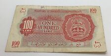 Libya Military Authority In Tripolitania 100 Lire 1943 British Military Currency