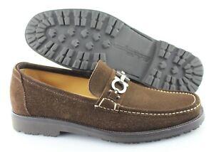 Men's SALVATORE FERRAGAMO 'Diego' Brown Suede Loafers Size US 9.5 - D