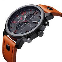 New Men's Leather Stainless Steel Sport Analog Quartz Wrist Watch Waterproof