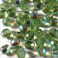 Facettes de Bohème 4mm Vert Lime AB Lot de 50 perles
