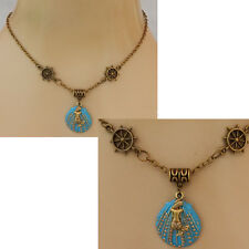 Mermaid Necklace Gold Pendant Jewelry Handmade New Chain Accessories Blue Women