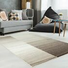 Tapis moderne design salon impression CARREAUX BEIGE GRIS BLEU NEUF