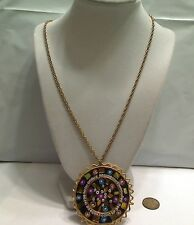"""Vintage Large Medallion Mosaic Inlaid Mirrors Necklace Stamped India, 22"""" Chain"""