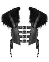 Devil Fashion Mens Dieselpunk Goth Waistcoat Harness Top Black Faux Leather Fur