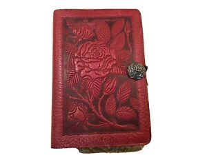 Oberon Design Leather Journal With Book Wild Red Rose