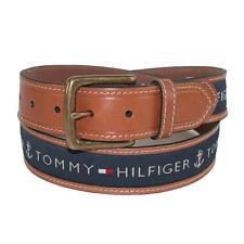 Tommy Hilfiger Men Ribbon Inlay Brown Leather Navy Khaki Cotton Belt 11TL02X032