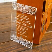 80PCS-Customized Engraved Damask Acrylic Wedding Invitations With Guest Names