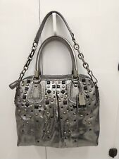 * COACH KRISTIN GREY/SILVER STUDDED LEATHER HANDBAG LIMITED EDITION 15360 RARE!