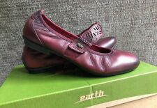 """NWTs & BOXED Earth Brands """"Pilot"""" Mary Jane, Leather, SZ 9M, """"Tumbled Bordeaux"""""""