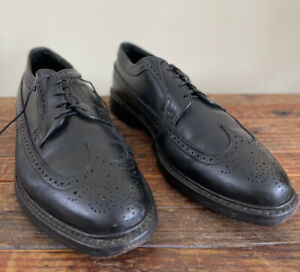 VTG Florsheim Royal Imperial Kenmoor Wingtip Brogue Leather Black Shoes 10.5 3E